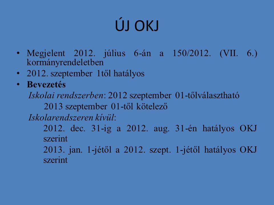 ÚJ OKJ Megjelent 2012. július 6-án a 150/2012. (VII. 6.) kormányrendeletben. 2012. szeptember 1től hatályos.