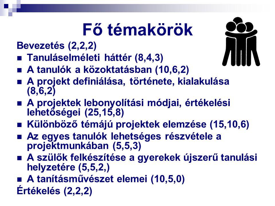 Fő témakörök Bevezetés (2,2,2) Tanuláselméleti háttér (8,4,3)