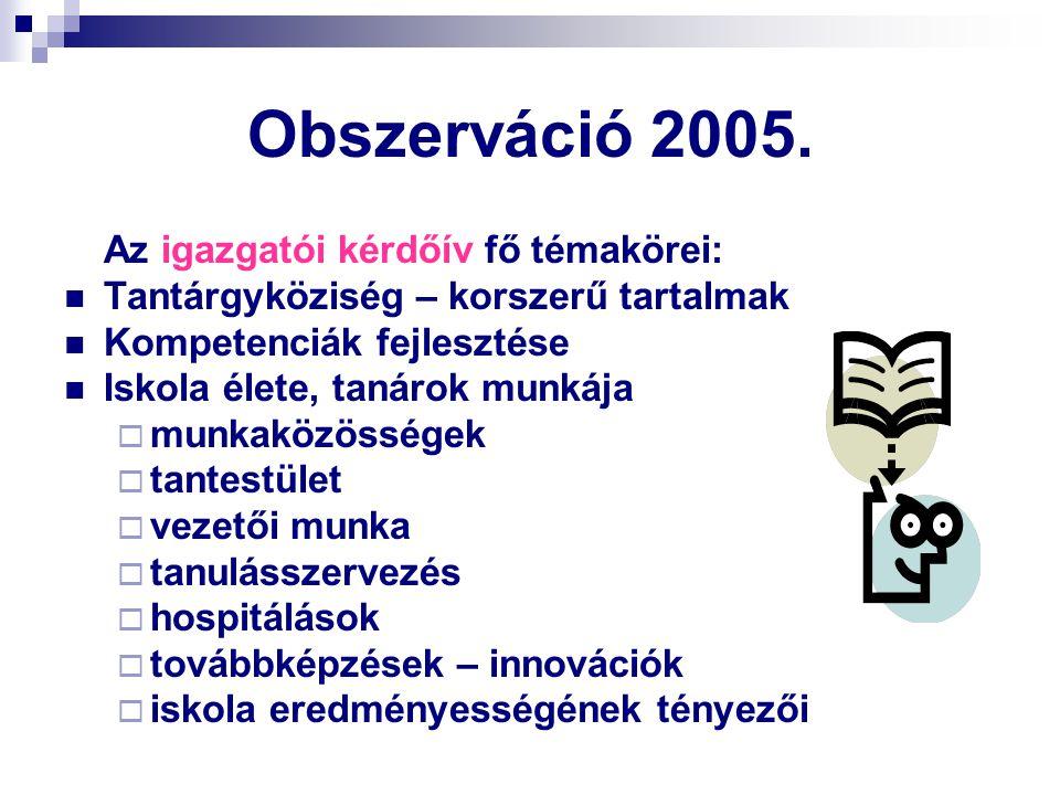 Obszerváció 2005. Tantárgyköziség – korszerű tartalmak