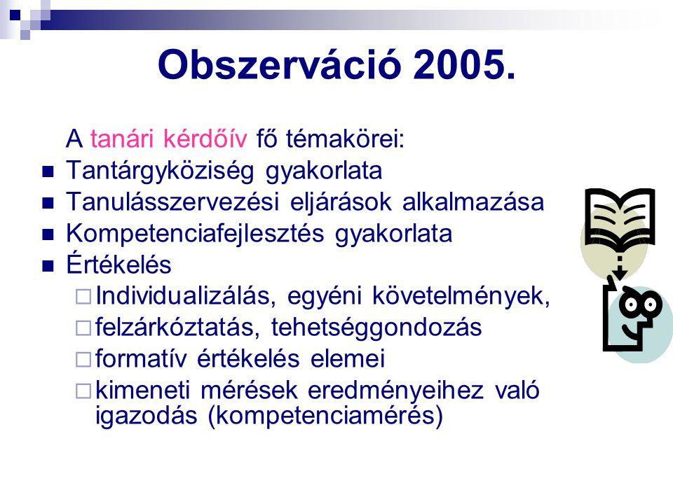 Obszerváció 2005. Tantárgyköziség gyakorlata
