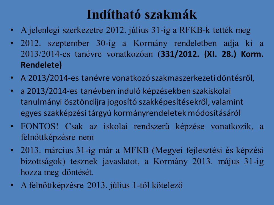 Indítható szakmák A jelenlegi szerkezetre 2012. július 31-ig a RFKB-k tették meg.