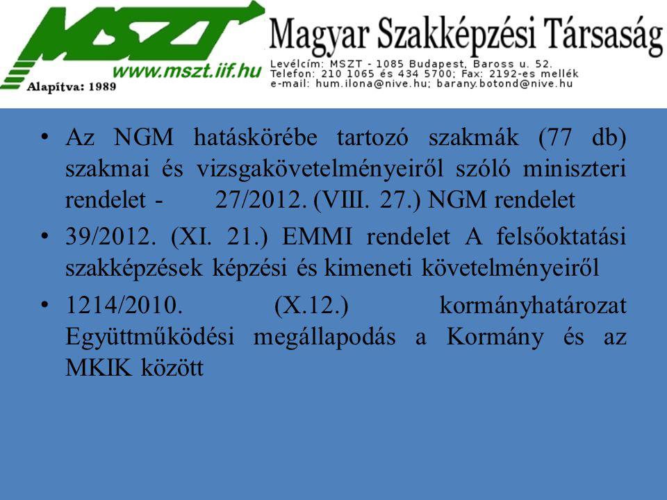 Az NGM hatáskörébe tartozó szakmák (77 db) szakmai és vizsgakövetelményeiről szóló miniszteri rendelet - 27/2012. (VIII. 27.) NGM rendelet