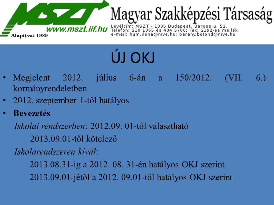 ÚJ OKJ Megjelent 2012. július 6-án a 150/2012. (VII. 6.) kormányrendeletben. 2012. szeptember 1-től hatályos.