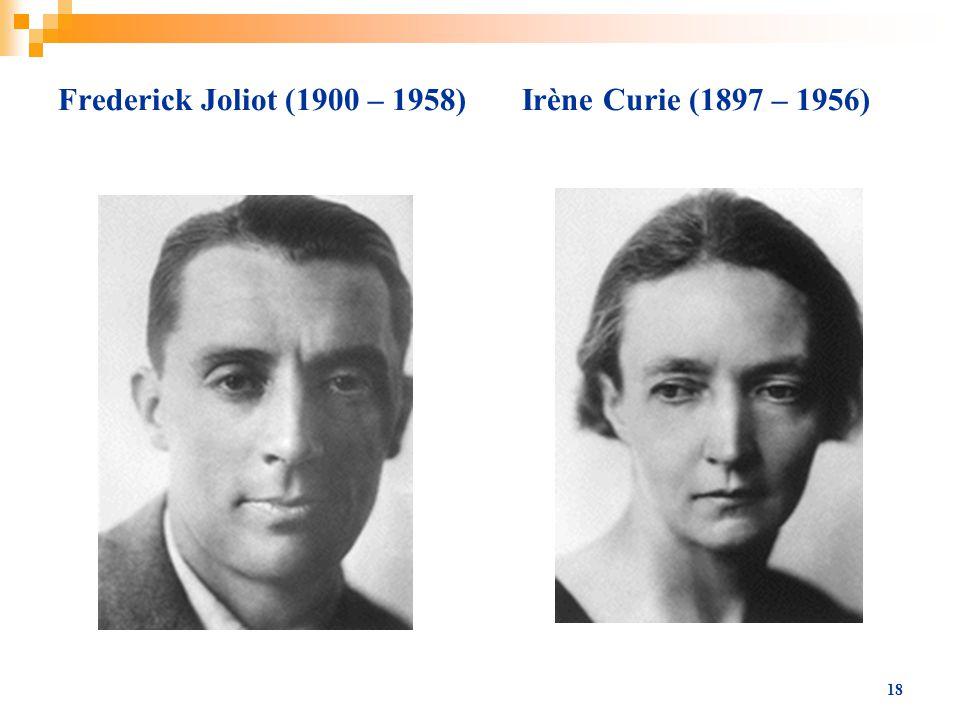 Frederick Joliot (1900 – 1958) Irène Curie (1897 – 1956)