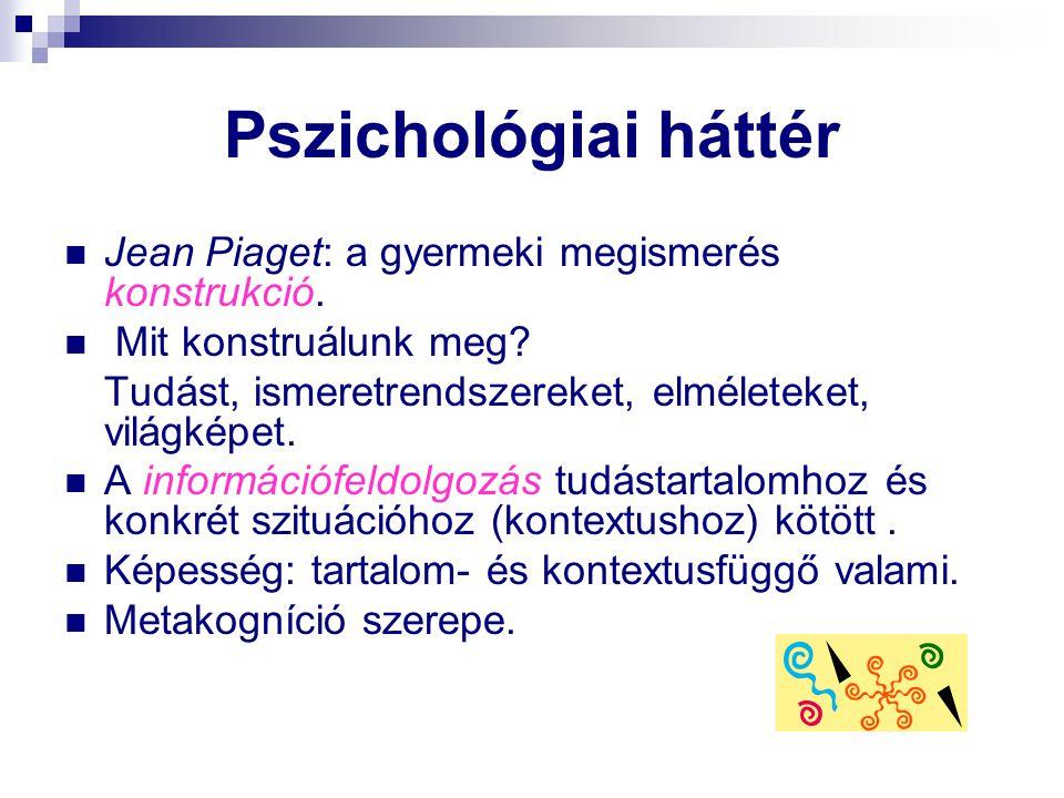Pszichológiai háttér Jean Piaget: a gyermeki megismerés konstrukció.