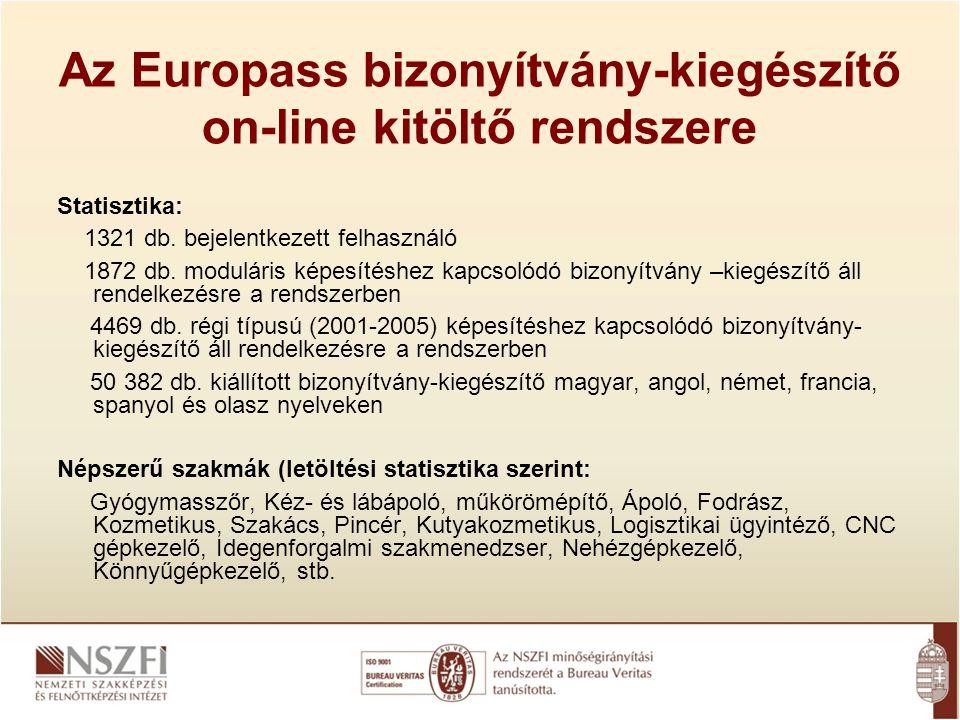 Az Europass bizonyítvány-kiegészítő on-line kitöltő rendszere