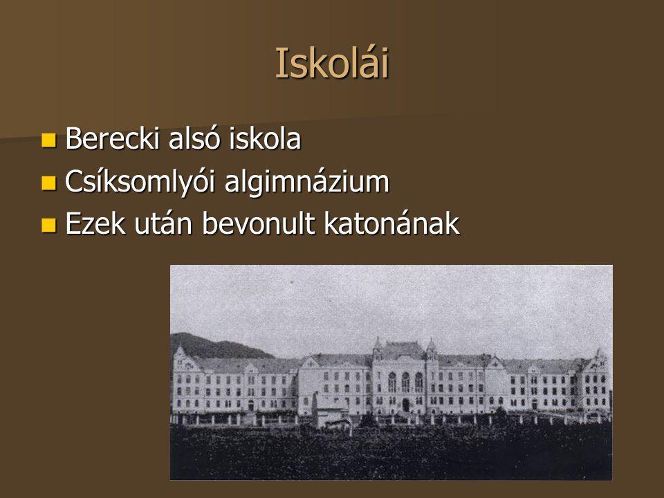 Iskolái Berecki alsó iskola Csíksomlyói algimnázium