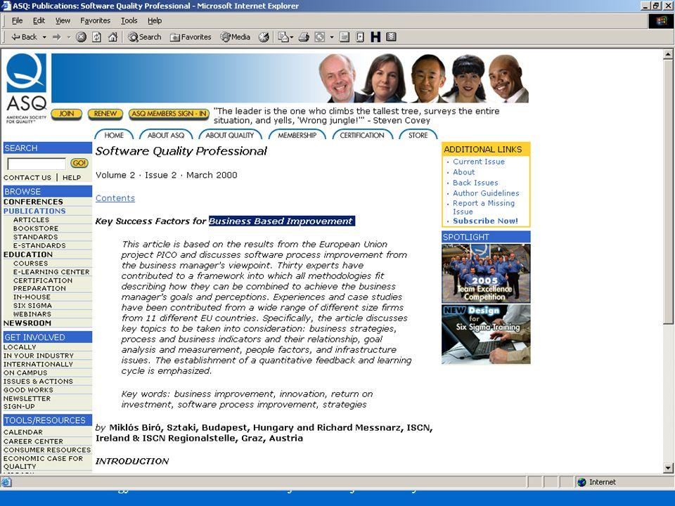 American Society for Quality: Üzleti siker tényezők