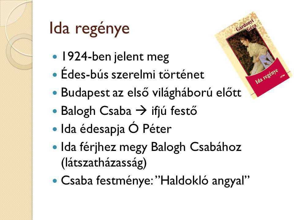 Ida regénye 1924-ben jelent meg Édes-bús szerelmi történet