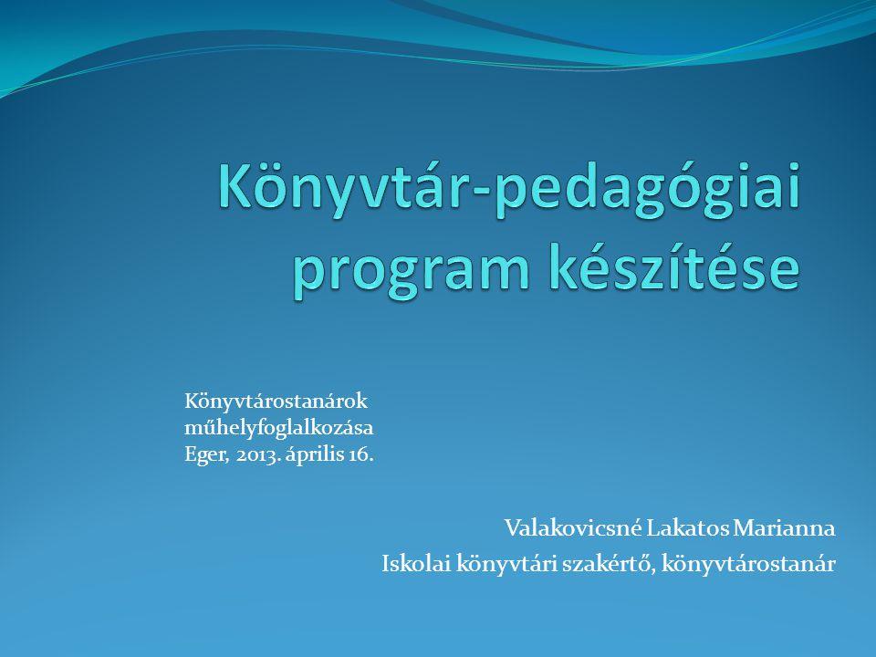 Könyvtár-pedagógiai program készítése