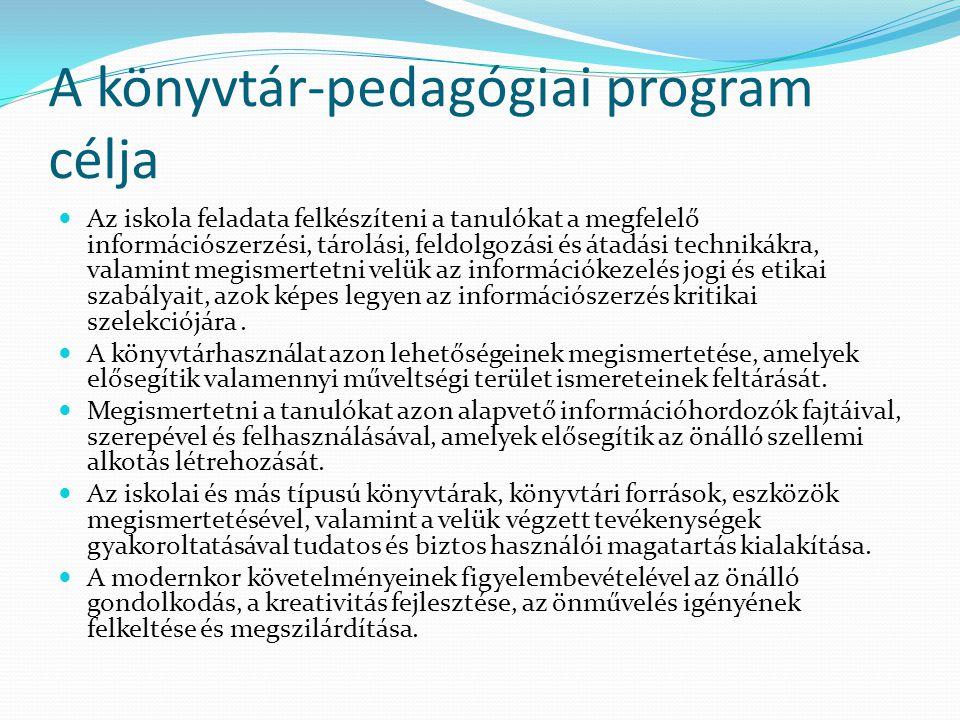 A könyvtár-pedagógiai program célja