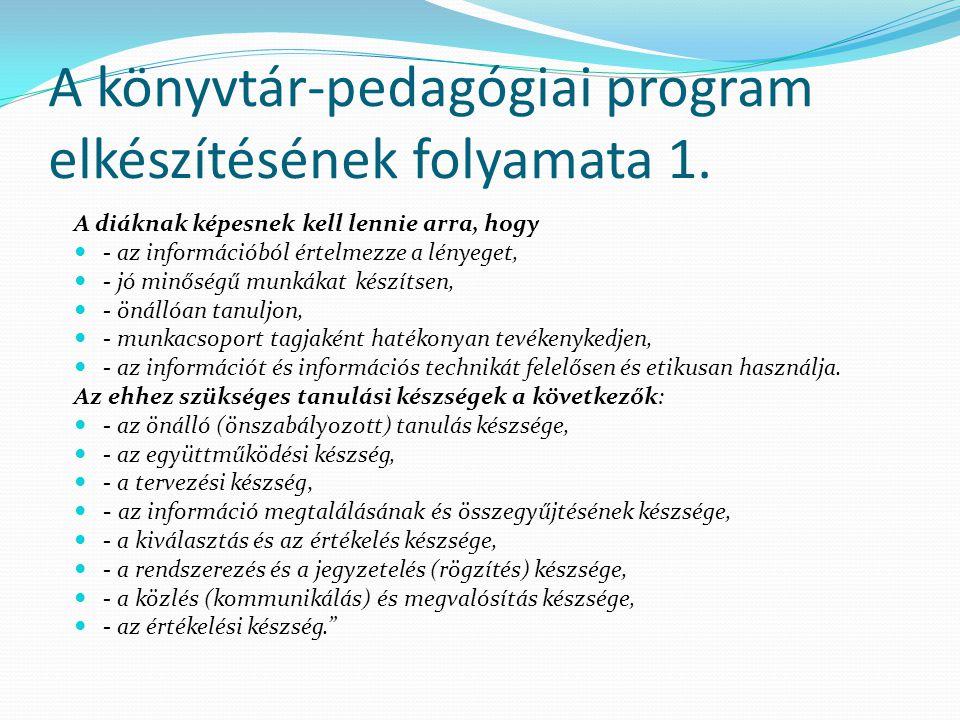 A könyvtár-pedagógiai program elkészítésének folyamata 1.