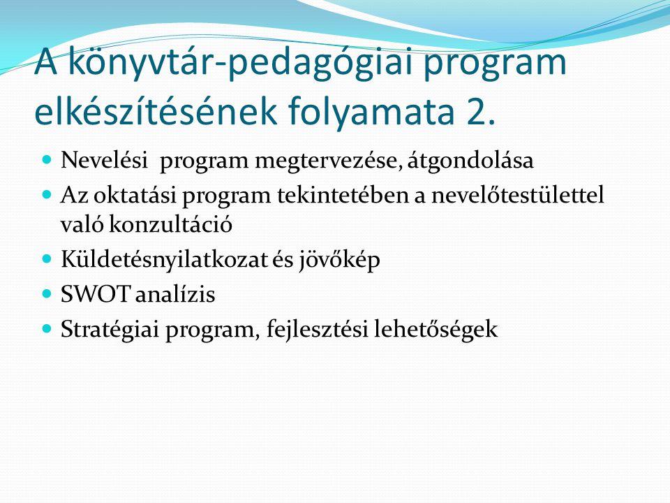 A könyvtár-pedagógiai program elkészítésének folyamata 2.