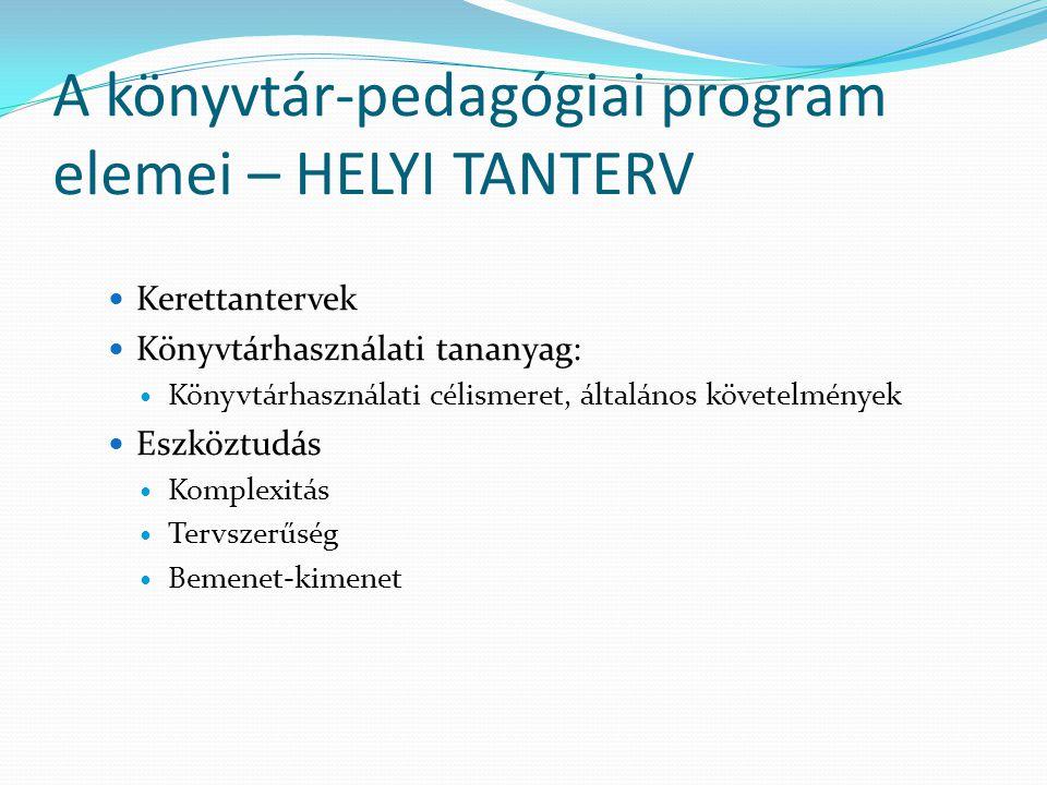A könyvtár-pedagógiai program elemei – HELYI TANTERV