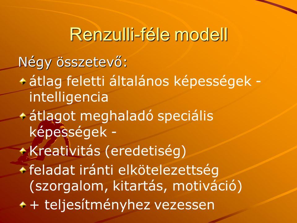 Renzulli-féle modell Négy összetevő: