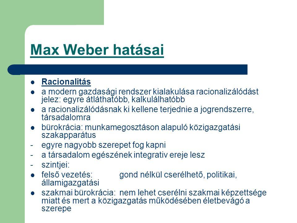 Max Weber hatásai Racionalitás