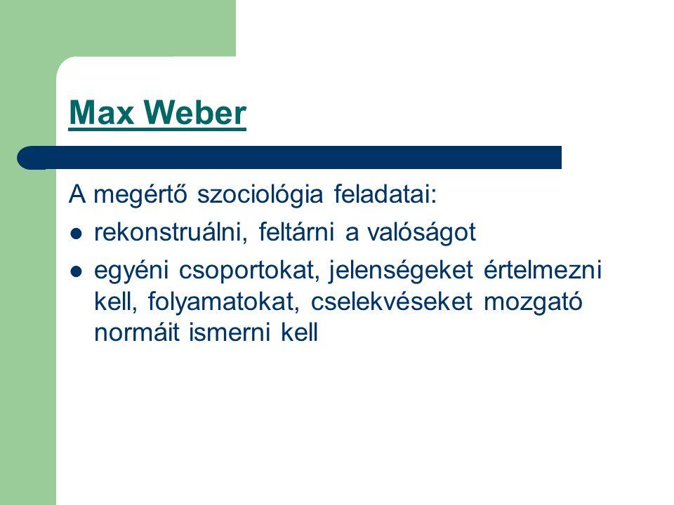 Max Weber A megértő szociológia feladatai: