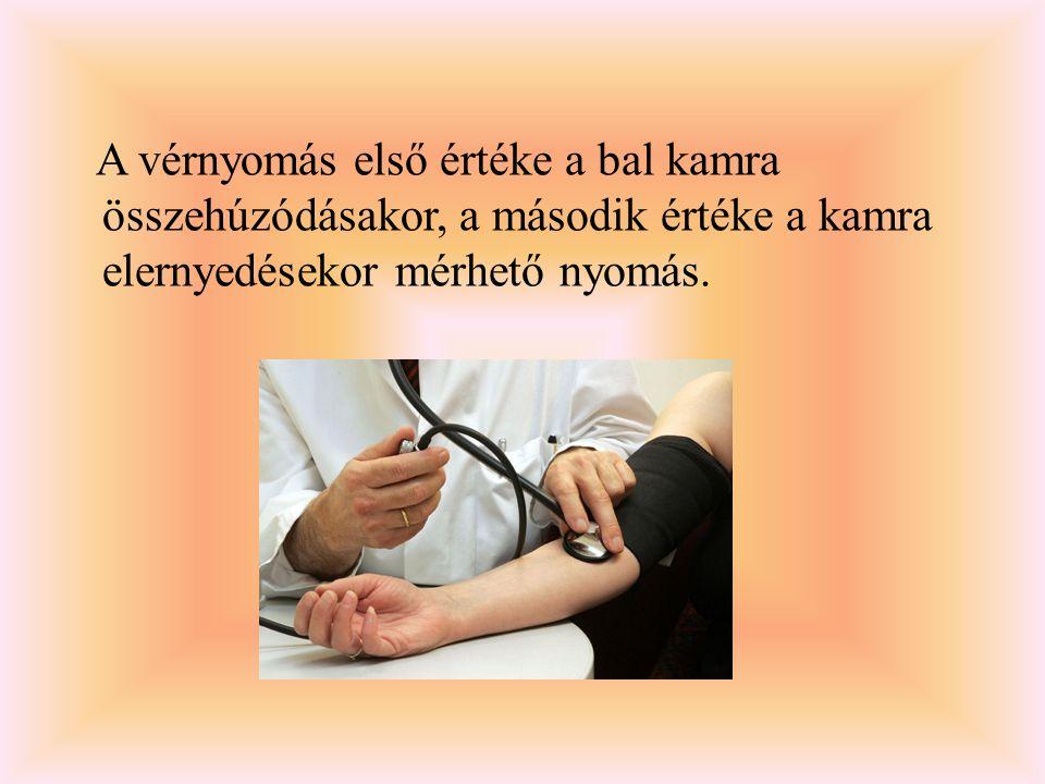 A vérnyomás első értéke a bal kamra összehúzódásakor, a második értéke a kamra elernyedésekor mérhető nyomás.