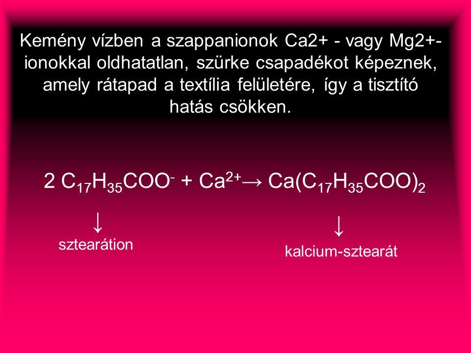 ↓ ↓ 2 C17H35COO- + Ca2+→ Ca(C17H35COO)2