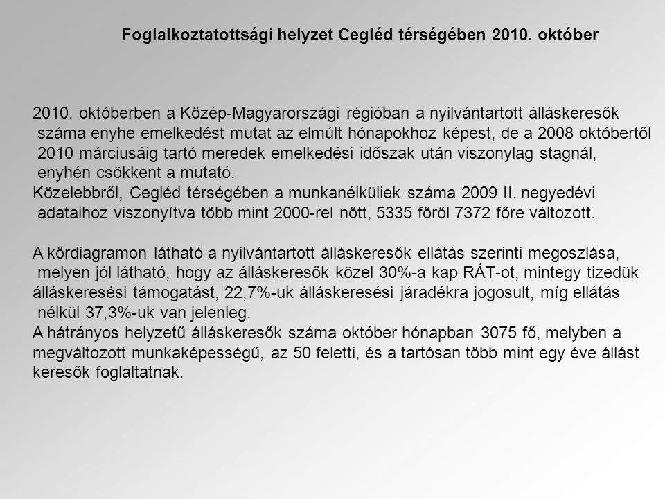 Foglalkoztatottsági helyzet Cegléd térségében 2010. október