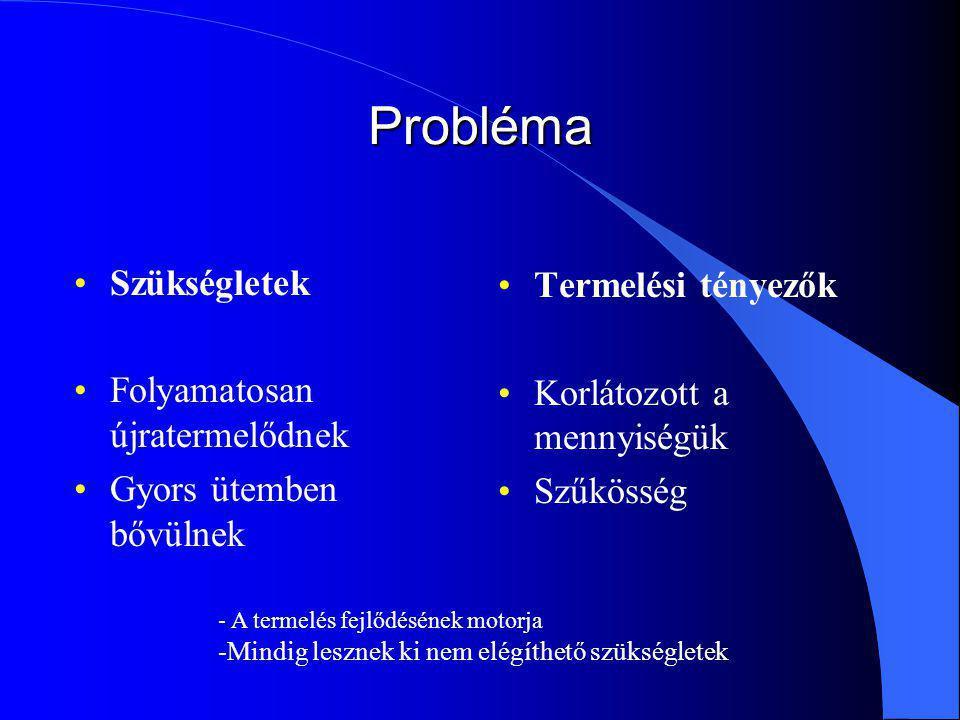 Probléma Szükségletek Termelési tényezők Folyamatosan újratermelődnek
