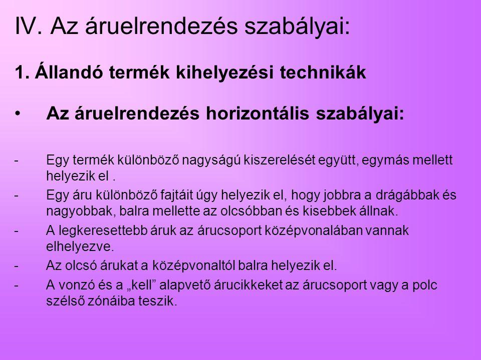 IV. Az áruelrendezés szabályai: