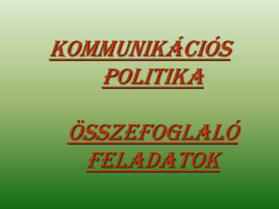 Kommunikációs politika Összefoglaló feladatok