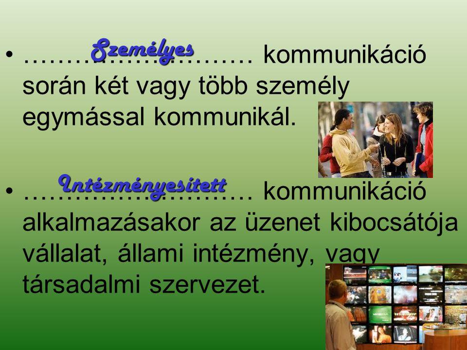 Személyes ……………………… kommunikáció során két vagy több személy egymással kommunikál.