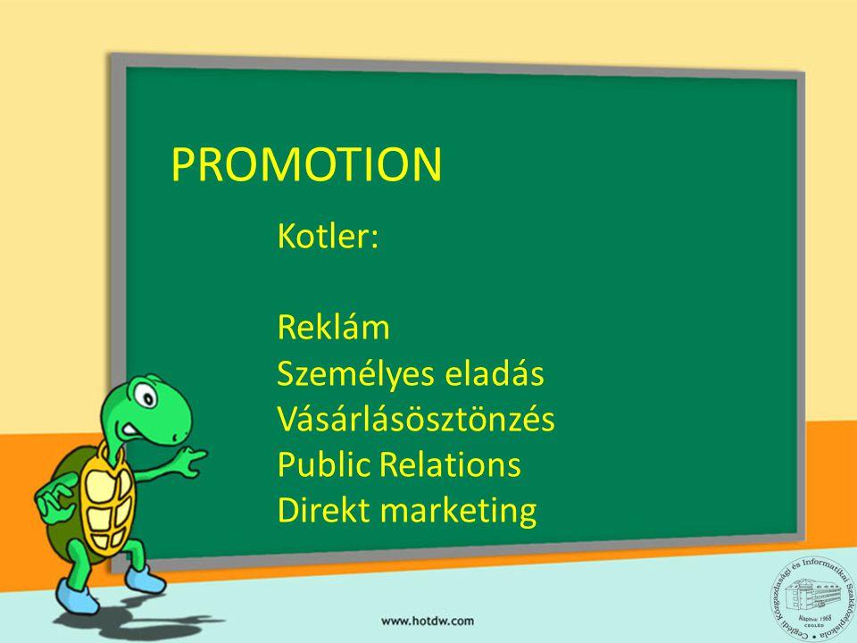PROMOTION Kotler: Reklám Személyes eladás Vásárlásösztönzés