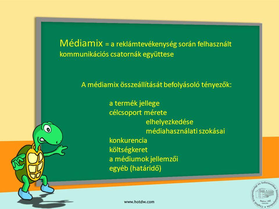 Médiamix = a reklámtevékenység során felhasznált