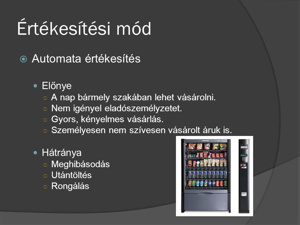 Értékesítési mód Automata értékesítés Előnye Hátránya