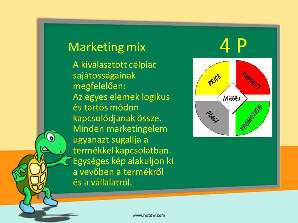 4 P Marketing mix A kiválasztott célpiac sajátosságainak megfelelően: