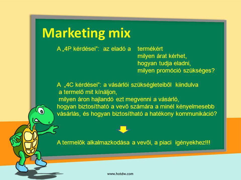 """Marketing mix A """"4P kérdései : az eladó a termékért"""