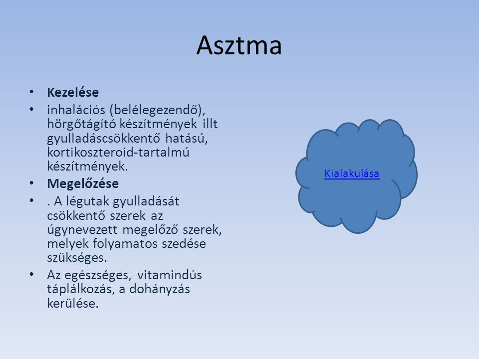 Asztma Kezelése. inhalációs (belélegezendő), hörgőtágító készítmények illt gyulladáscsökkentő hatású, kortikoszteroid-tartalmú készítmények.