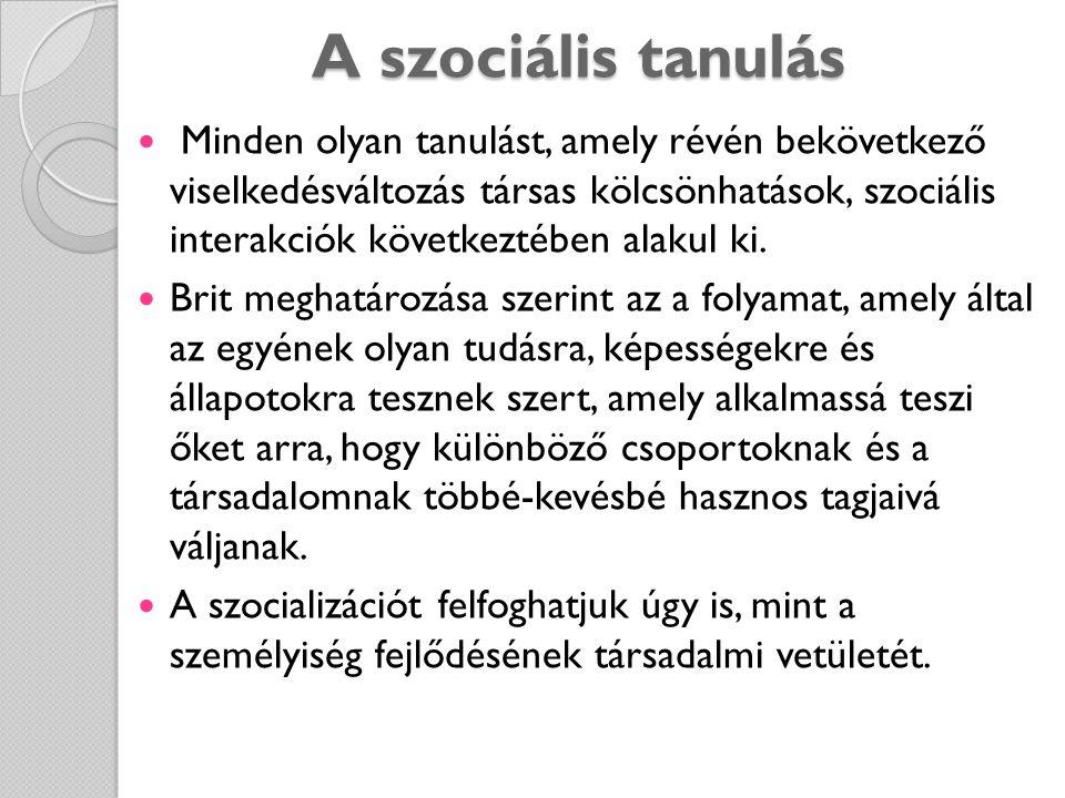 A szociális tanulás