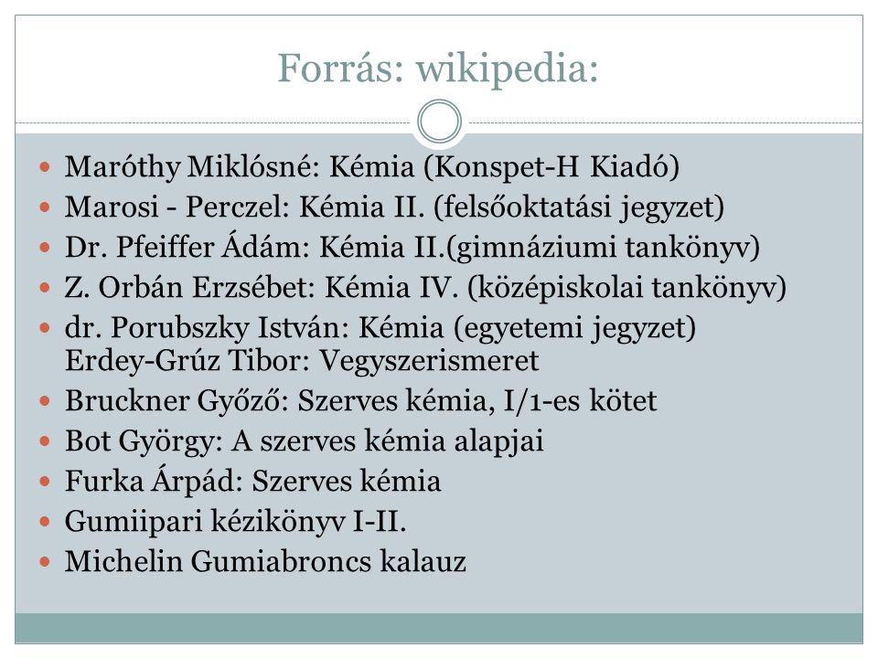 Forrás: wikipedia: Maróthy Miklósné: Kémia (Konspet-H Kiadó)