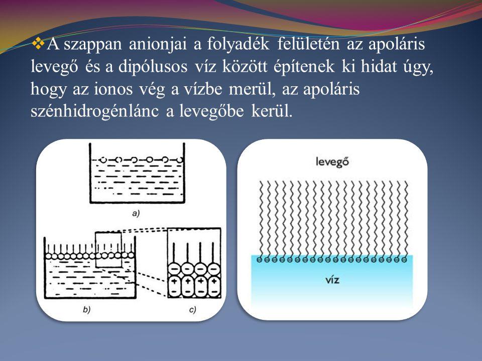 A szappan anionjai a folyadék felületén az apoláris levegő és a dipólusos víz között építenek ki hidat úgy, hogy az ionos vég a vízbe merül, az apoláris szénhidrogénlánc a levegőbe kerül.
