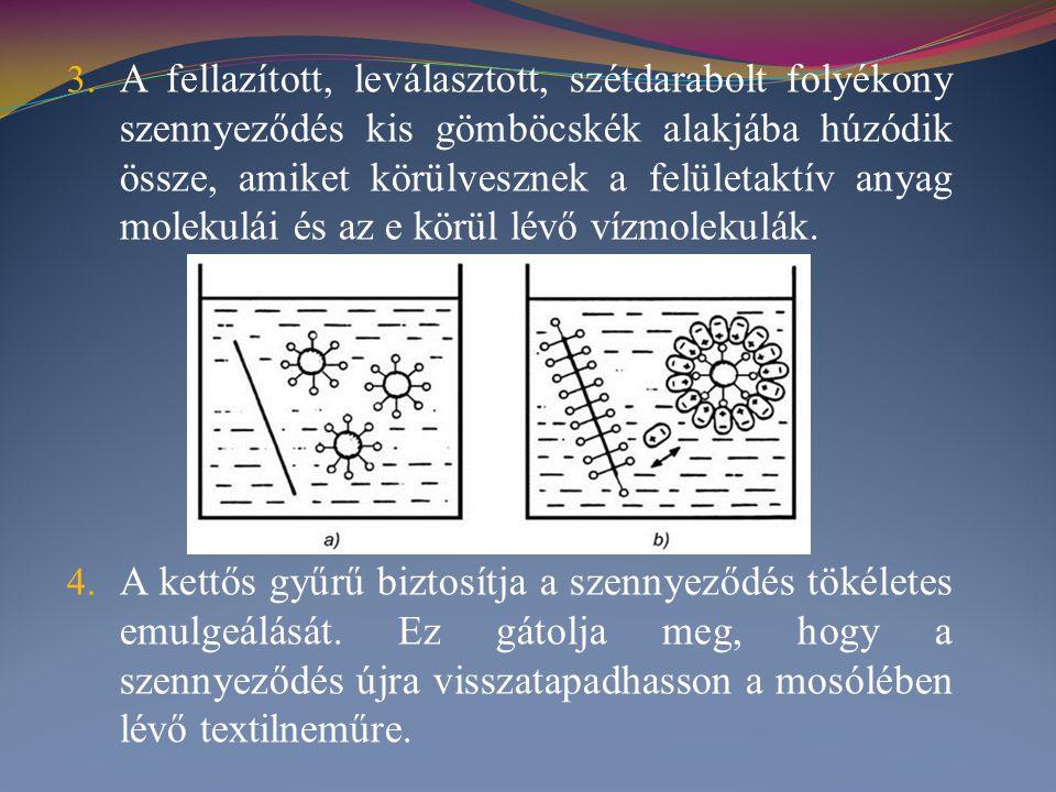 A fellazított, leválasztott, szétdarabolt folyékony szennyeződés kis gömböcskék alakjába húzódik össze, amiket körülvesznek a felületaktív anyag molekulái és az e körül lévő vízmolekulák.