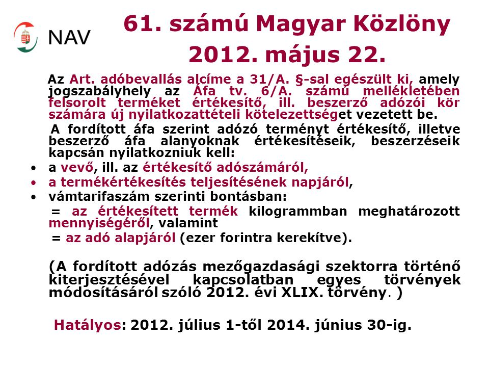 61. számú Magyar Közlöny 2012. május 22.