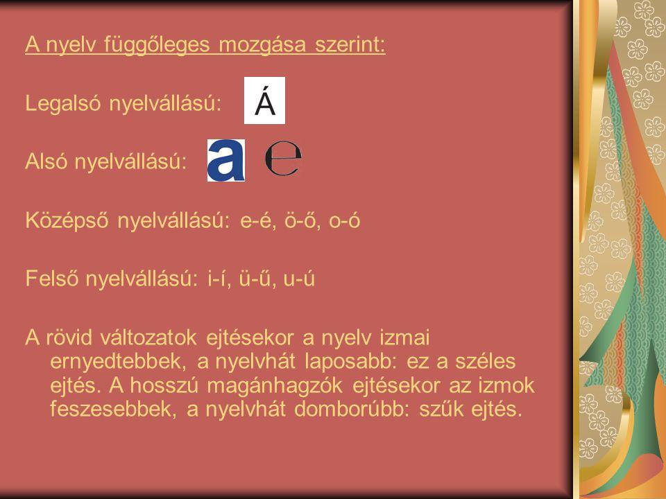 A nyelv függőleges mozgása szerint: