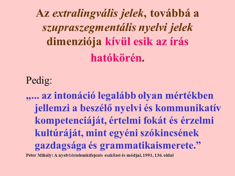 Az extralingvális jelek, továbbá a szupraszegmentális nyelvi jelek dimenziója kívül esik az írás hatókörén.