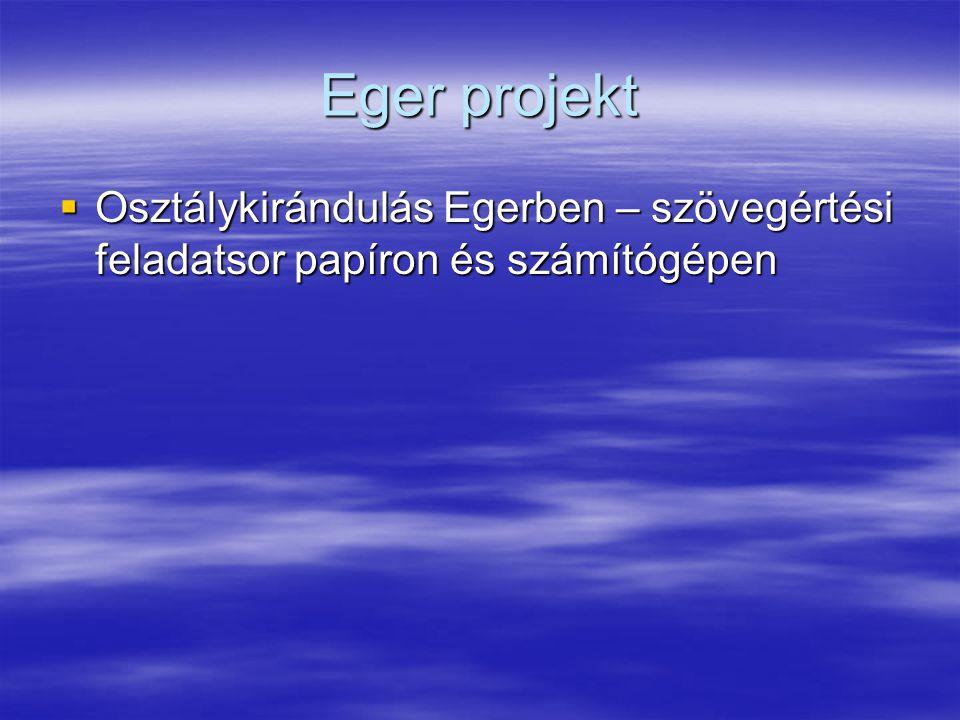 Eger projekt Osztálykirándulás Egerben – szövegértési feladatsor papíron és számítógépen