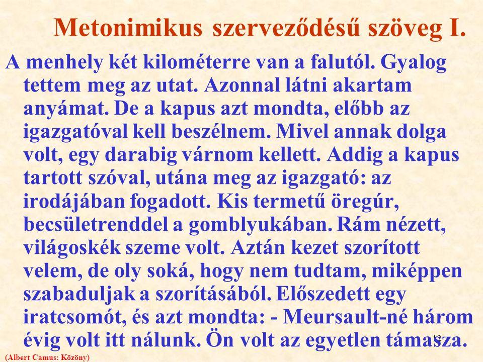 Metonimikus szerveződésű szöveg I.