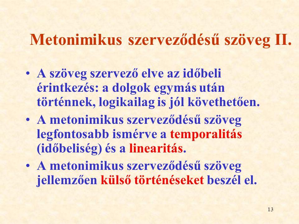 Metonimikus szerveződésű szöveg II.