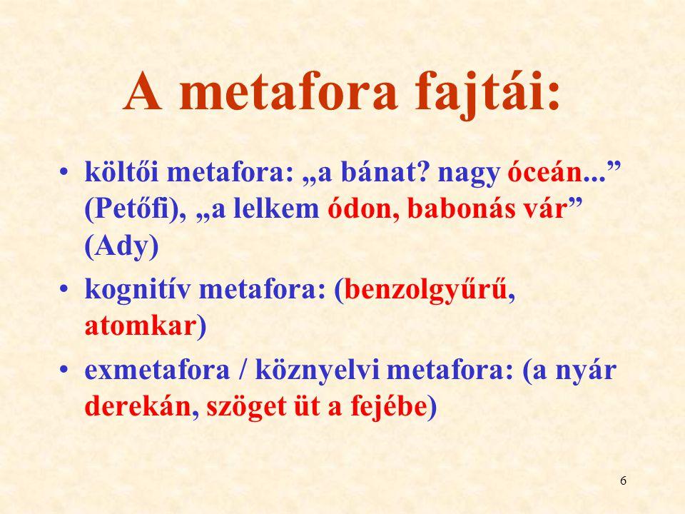 """A metafora fajtái: költői metafora: """"a bánat nagy óceán... (Petőfi), """"a lelkem ódon, babonás vár (Ady)"""