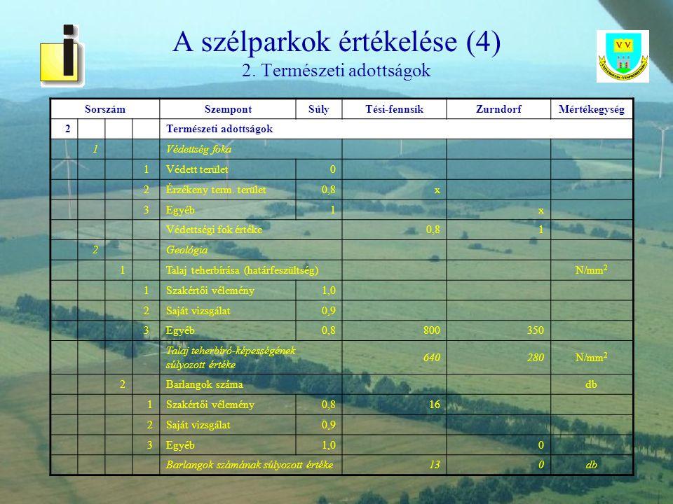 A szélparkok értékelése (4) 2. Természeti adottságok
