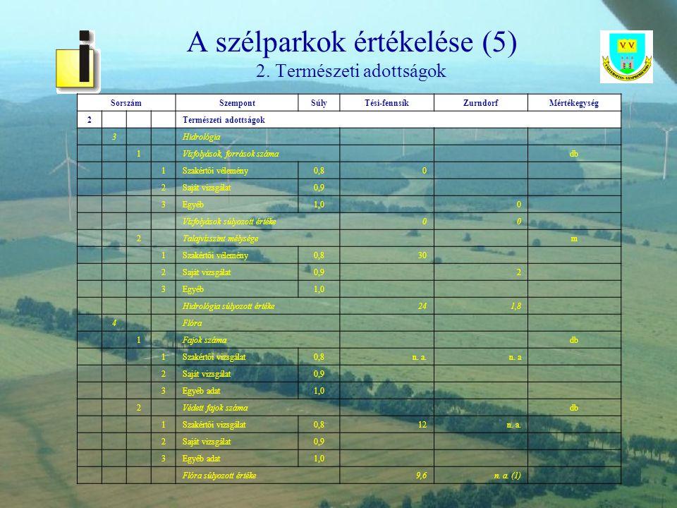 A szélparkok értékelése (5) 2. Természeti adottságok
