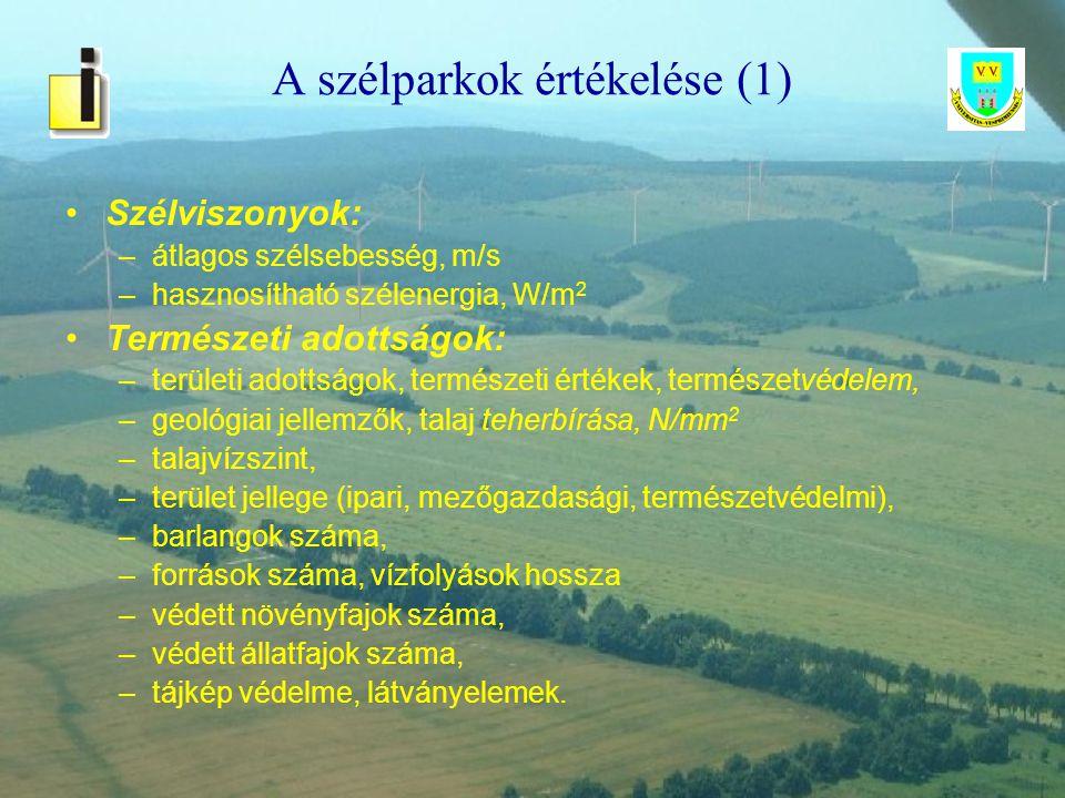 A szélparkok értékelése (1)