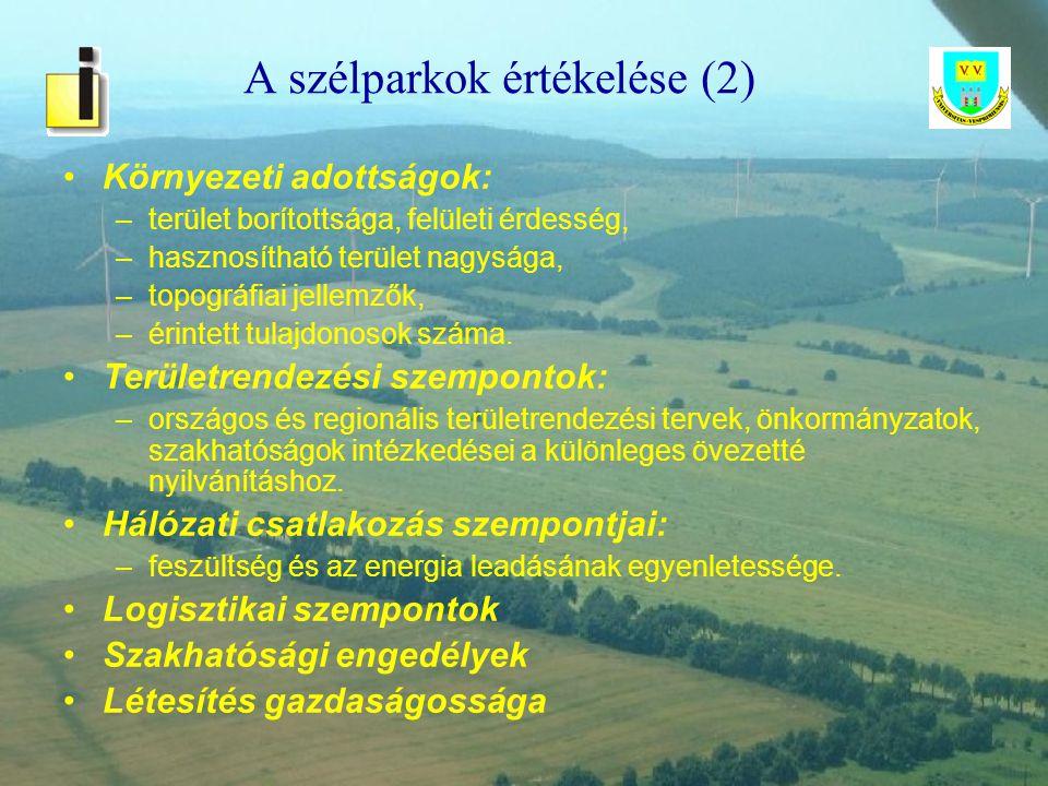 A szélparkok értékelése (2)