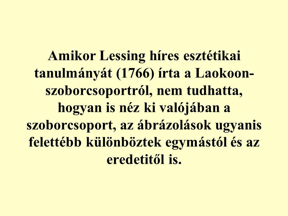 Amikor Lessing híres esztétikai tanulmányát (1766) írta a Laokoon-szoborcsoportról, nem tudhatta, hogyan is néz ki valójában a szoborcsoport, az ábrázolások ugyanis felettébb különböztek egymástól és az eredetitől is.